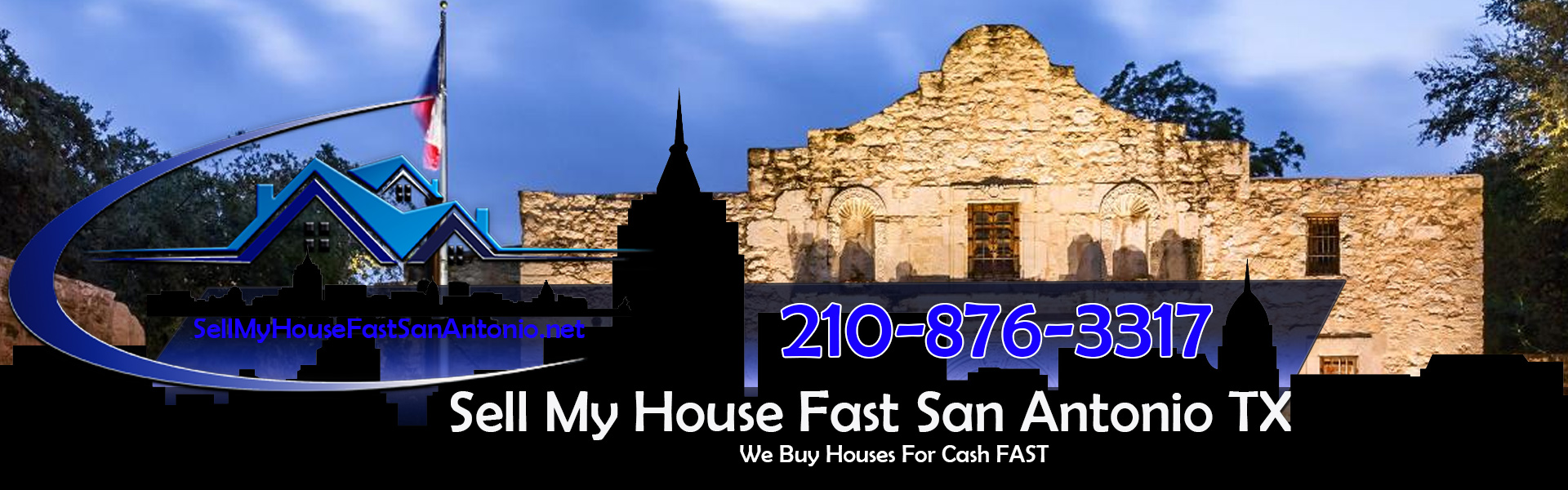 Featured image of the Alamo in San Antonio Texas. Here is our logo super imposed on the graphic